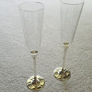 Mikasa silver plated champagne flutes